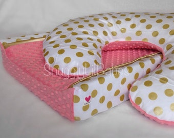 Coral, gold boppy, changing pad cover, gold polka dot and coral minky dot
