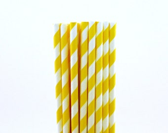 Dark Yellow Striped Paper Straws-Striped Straws-Monkey Birthday Party-Yellow Party Straws-Lemonade Paper Straws-Bridal Shower Straws