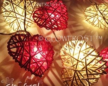 Rattan Cane Wood Hearts Battery Operated Fairy Lights Red & White