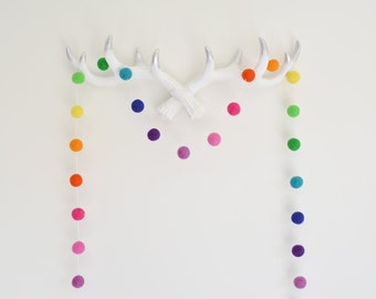 Modern Rainbow Felt Ball Garland, Party Decoration, Nursery Bunting, Rainbow Pom Pom Garland, Christmas Decor, Gender Neutral Kids Room