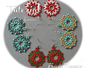 """Beadweaving tutorial for """"Juicy summer"""" earrings / Beading tutorial / Earring tutorial / Beading pattern / Superduo tutorial / TUTORIAL ONLY"""
