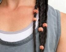 26 Boho Hair Beads * Red Ceramic Beads for Dreadlocks / Beard / Macrame / Jewelry Making * Unique Ceramic Beads Large Hole Dread Accessories