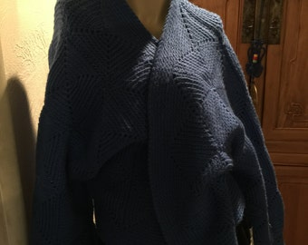 Blue Bohemian Chic Hand Knit Cardigan Rockabilly Cottage Chic Sweater