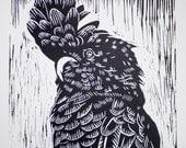 Black Cockatoo - linocut print of birds