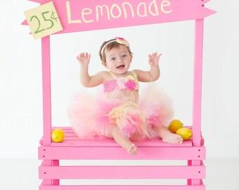 lemonade stand custom handmade and painted white, pink, yellow, photo prop or play