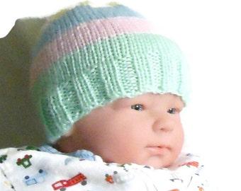 Striped newborn cap, 0 to 3 months hat, babys first hat, baby beanie, newborn knit hat, hand knit infant hat