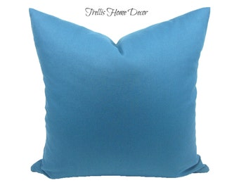 Medium Blue Waverly Fabric Pillow Cover, 18 x 18 inches, Toss Pillow Cover, Throw Pillow Cover, Hidden Zipper