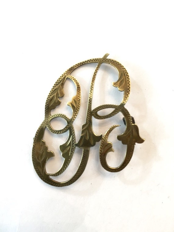 antique initial brooch    victorian letter by antiquejewelryforfun