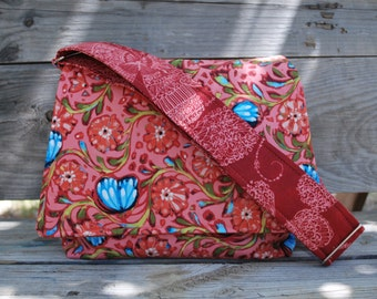Small messenger style purse, Blue Butterfly on Coral Fabric Messenger Bag, Fabric Shoulderbag, Cotton Shoulderbag, adjustable strap,