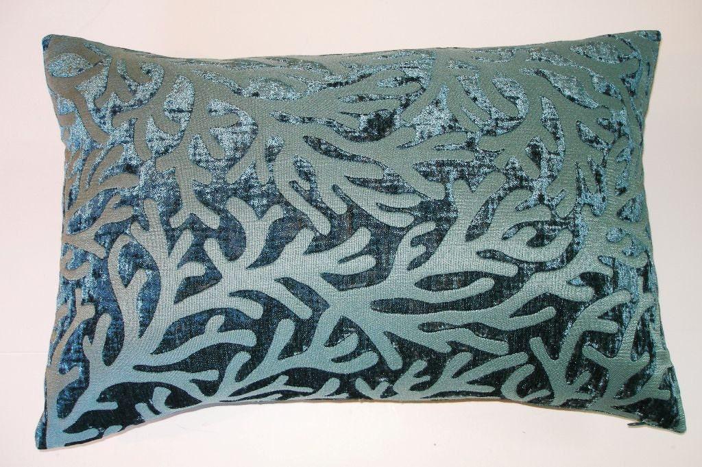 Blue Lumbar Throw Pillow : Teal Blue Velvet Lumbar Throw Pillow Cover Handmade-13 x 22
