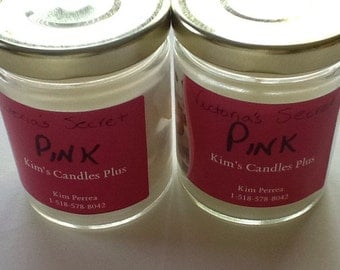 6 Oz Victorias Secret Pink scented soy candle in glass jar