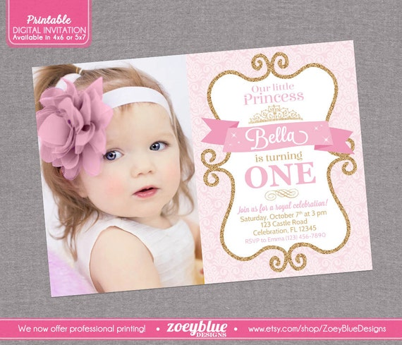 Pink Zebra Print Girls 1st Birthday Invitation: Princess Birthday Invitation Girl Gold Glitter By