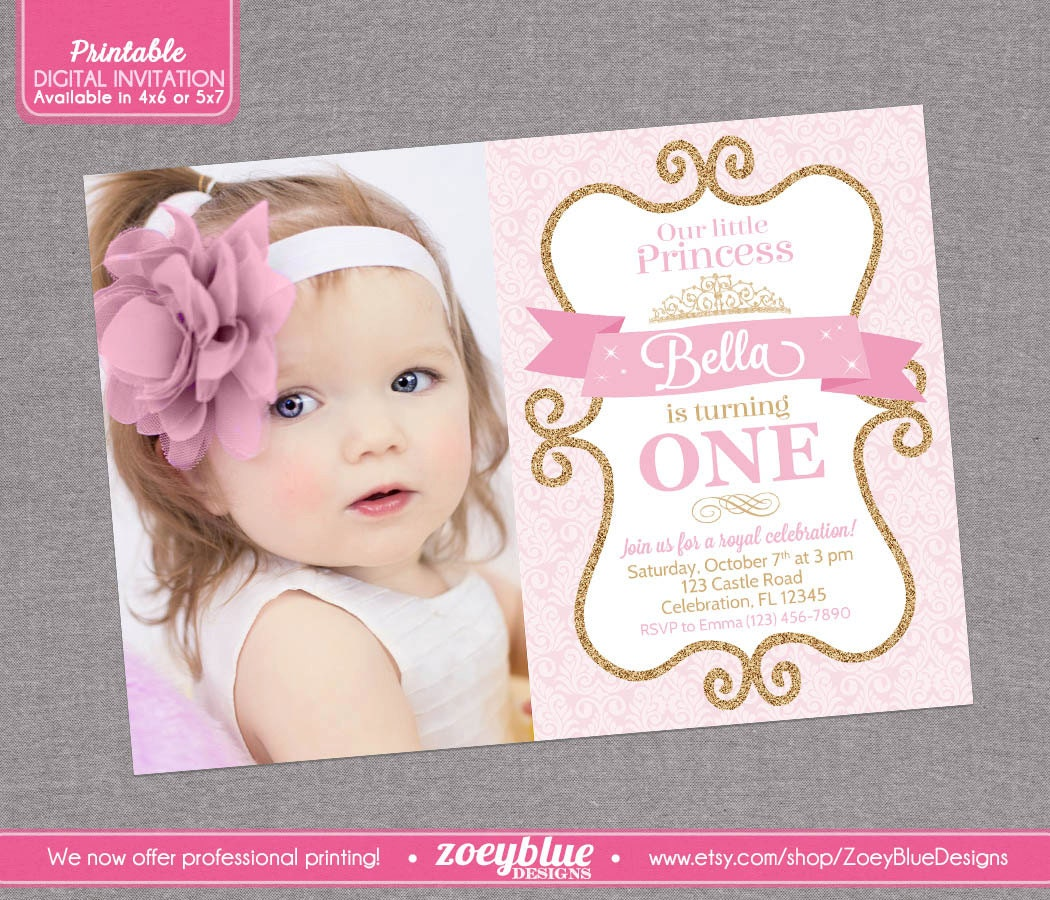 Princess Birthday Invitation Girl Gold Glitter By
