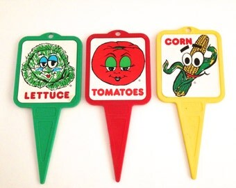 Vintage Garden Stakes Vegetable Row Signs