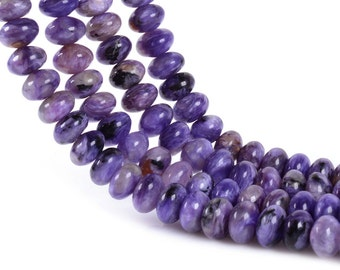 0178   8mm Purple Charoite rondelle gemstone loose beads 16""