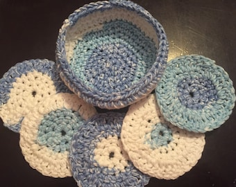Crochet Makeup Removers with Basket