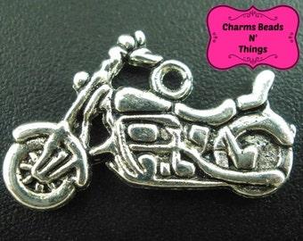 30 pcs Antique Silver Motorcycle Charm Pendant 24x14mm