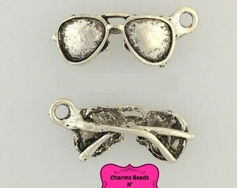 30 pcs Antique Silver Aviator Sunglasses Charm Pendant 3D 24.50x11mm