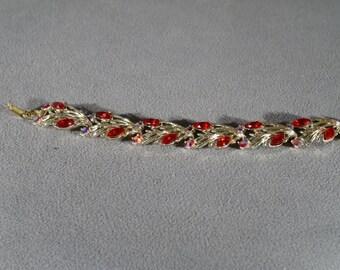 Vintage Art Deco Style Ruby Red Marquis Aurora Borealis Leaf Design Designer Signed Star Bracelet Jewelry     #25