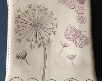 Dandelion ceramic wall art plaque