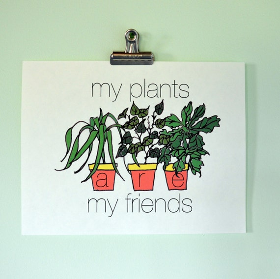 items similar to my plants are my friends ecofeminist mid century modern inspired poster print. Black Bedroom Furniture Sets. Home Design Ideas