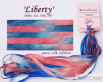 Hand dyed 4 mm wide pure silk ribbon - 'Liberty'
