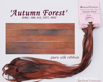 Hand dyed 13 mm wide pure silk ribbon, soie de ruban - 'Autumn Forest'