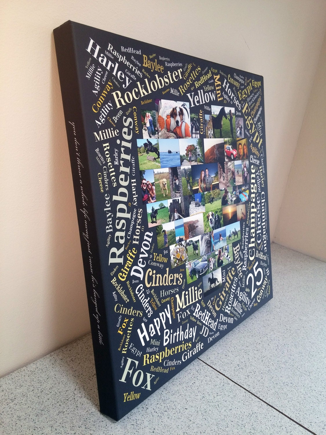 word heart photo collage canvas amazing personalised with. Black Bedroom Furniture Sets. Home Design Ideas
