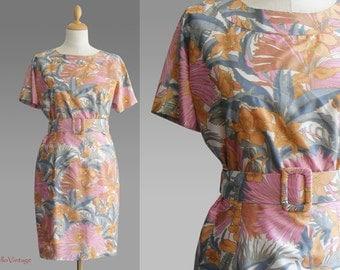 Vintage dress, pure silk, size M, flowers