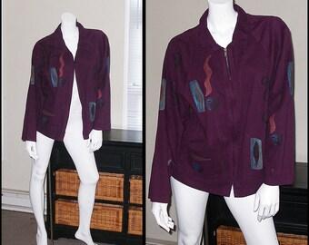 Artsy Purple Hand Painted Jacket Alegre Jacket,Artsy Zip Front Jacket,Painted Jacket Size L