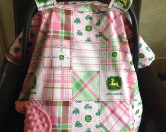 Car Seat Canopy Lined with Minky (Pink John Deere)