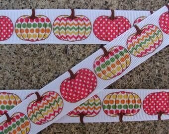 """3 yards Dots Pumpkin Ribbon fall Ribbon Printed Ribbon Chevron pumpkin ribbon Thanksgiving ribbon 7/8"""" Hair Bow Ribbon Free Shipping"""