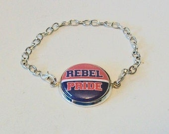 Fun Red and Blue Rebel Pride Silver Chain Fashion Bracelet
