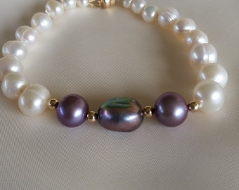 purple and white pearl bracelet