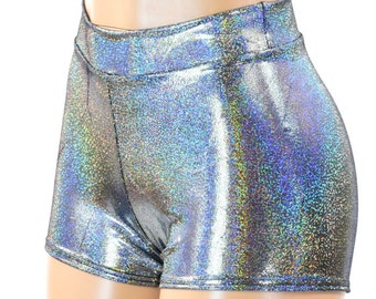 Silver Metallic Mid Rise Holographic Spandex Booty Shorts Rave Clubwear  -151372