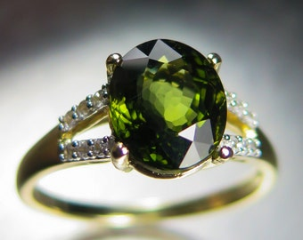 2.90cts Natural Flawless Green Mozambique Tourmaline oval portuguese cut 10K yellow gold engagement ring all sizes
