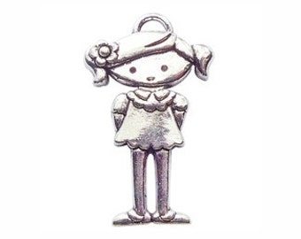 3 Silver Girl Charm Pendant 41x25mm by TIJC SP0539