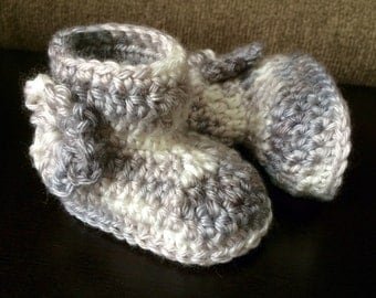Gray and White Camouflage Booties - Size 1