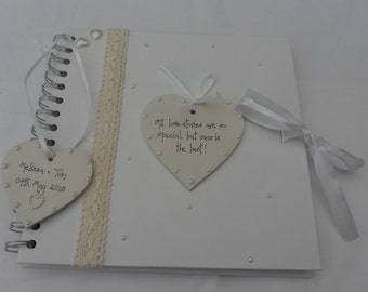 Personalised Vintage  Wedding Engagement Guest  Book/ Scrap Book Photo Album  Handcrafted