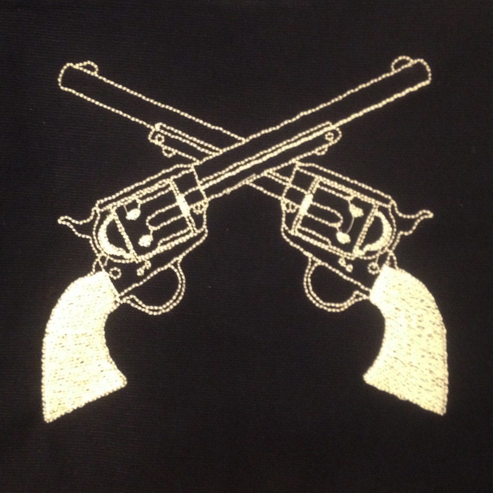Western crossed guns revolvers machine embroidery design in