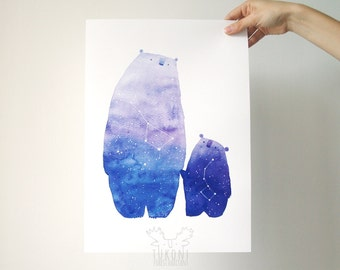 Cosmic bear art print Watercolor Great bear constellation print Ursa major minor Bear art Bear print Animal print Bear wall art Bear poster