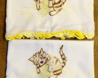 Handmade and Embroidered Kitty Pillowcases