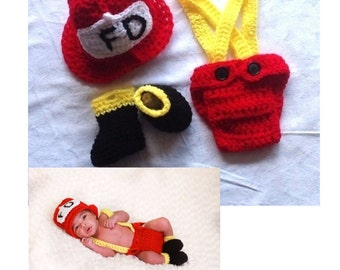 Baby Firefighter Outfit. Crochet Fireman Outfit. Firefighter Baby Shower. CD021