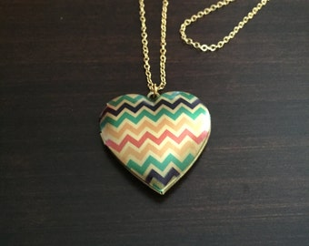 heart locket necklace, chevron necklace, gold locket necklace, gold locket, locket, locket necklace, heart necklace, gold necklace