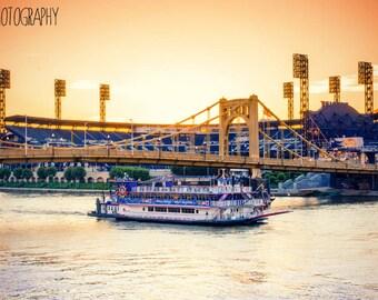 Pittsburgh Gateway Clipper (PNC Park, Pirates, Roberto Clemente Bridge, Sunset)