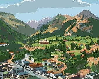 Estes Park Village, Colorado - Town View (Art Prints available in multiple sizes)