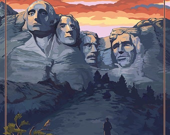 Mount Rushmore National Memorial, South Dakota - Sunset View (Art Prints available in multiple sizes)