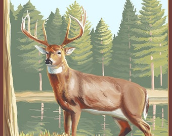 Michigan - White Tailed Deer (Art Prints available in multiple sizes)