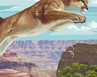 Grand Canyon National Park - Cougar Jumping (Art Prints available in multiple sizes)