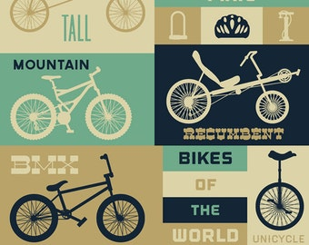 Bicycle of the World - Blues (Art Prints available in multiple sizes)